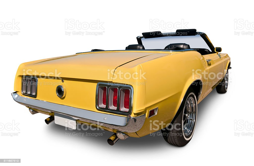 Yellow Convertible from 1970 stock photo