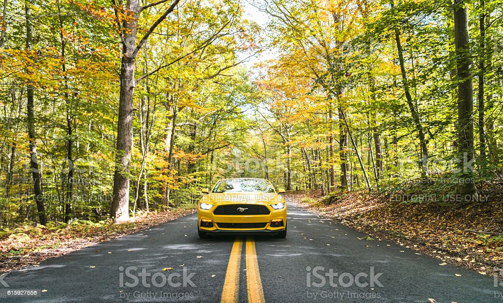 Yellow convertible mustang parked on the road stock photo