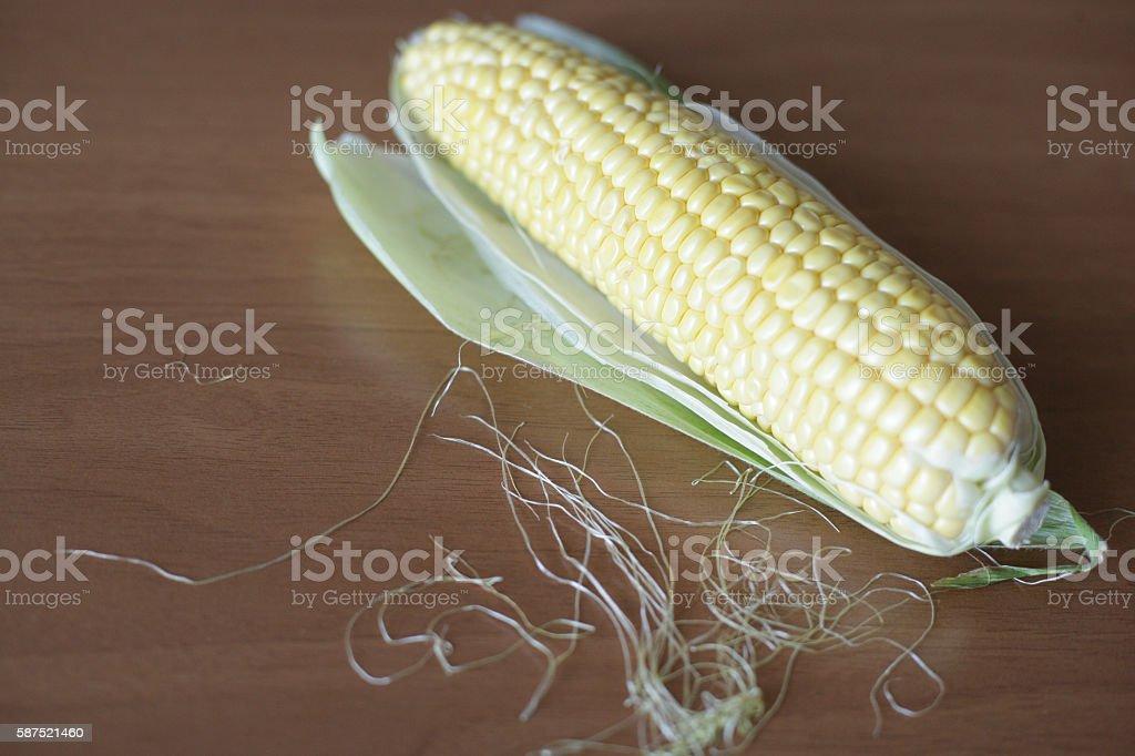 Yellow corn cob stock photo