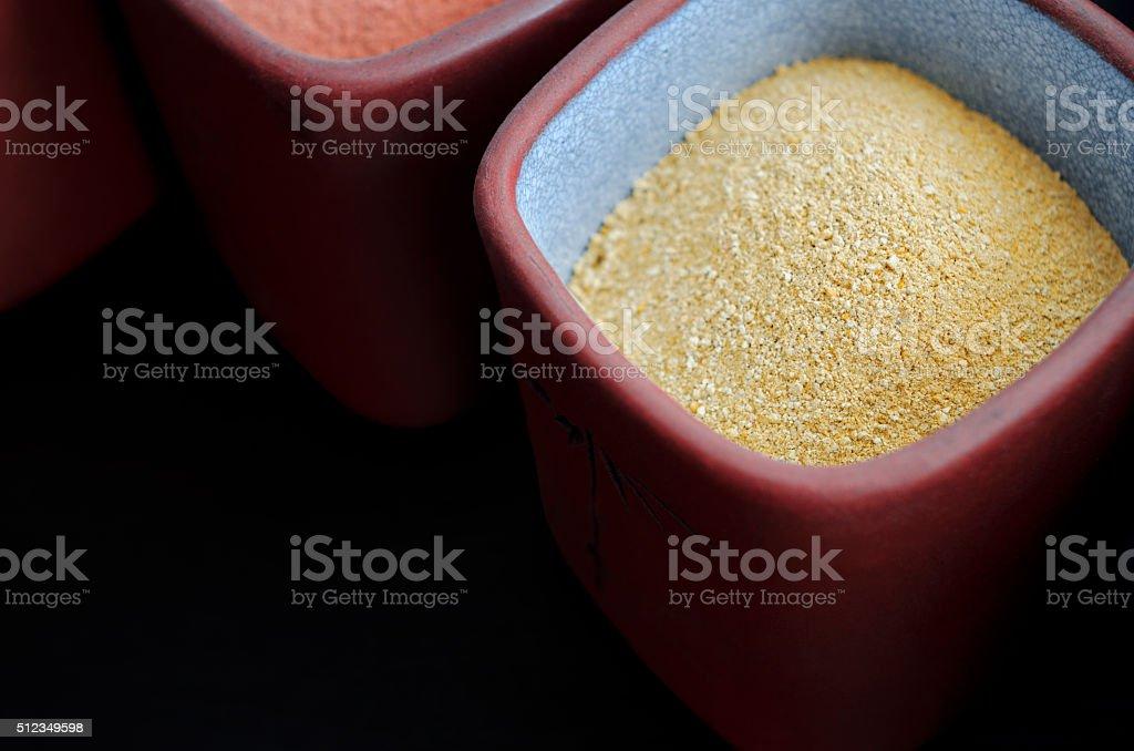 Yellow cosmetic clay powder stock photo