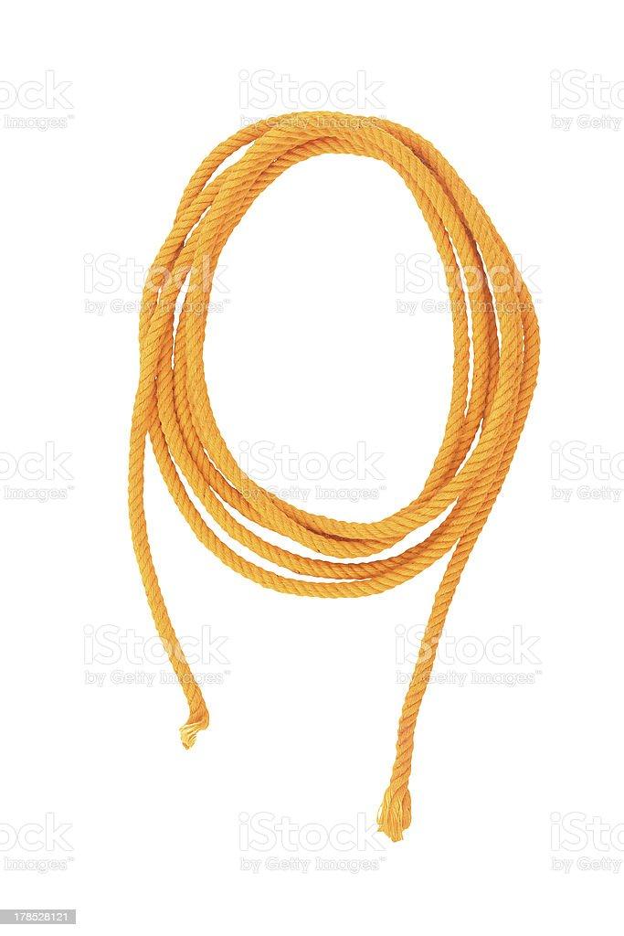 Yellow cotton fiber thread isolated on white background royalty-free stock photo