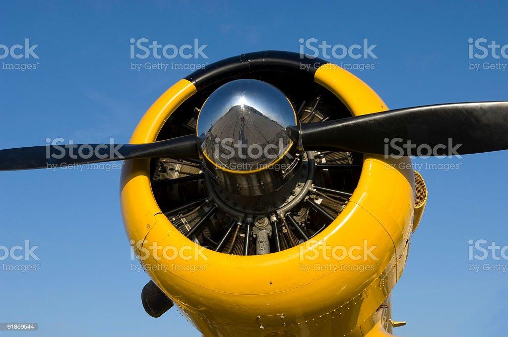 Yellow Cowling & Black Prop 2 stock photo