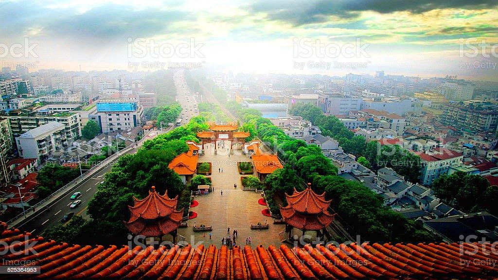 Yellow Crane Tower ,Yangtze river way stock photo
