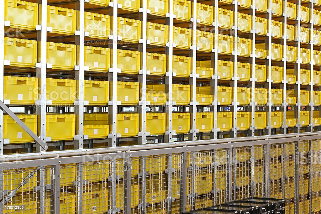 Yellow crates warehouse royalty-free stock photo