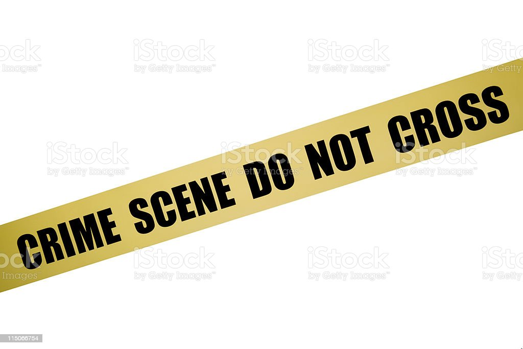 Yellow Crime Scene Tape Isolated On White Background royalty-free stock photo