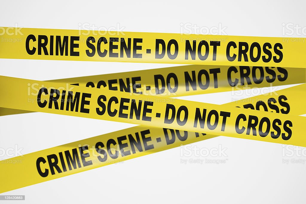 Yellow crime scene tape on white background royalty-free stock photo