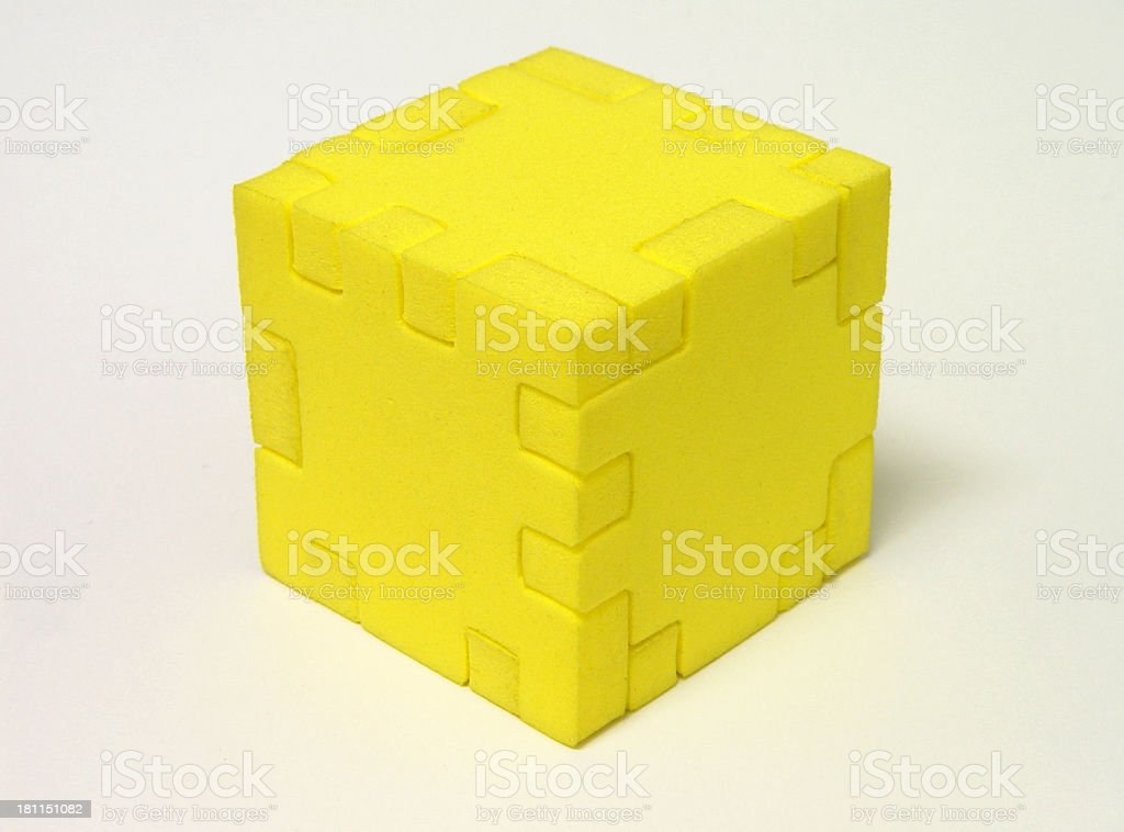 Yellow cube puzzle royalty-free stock photo