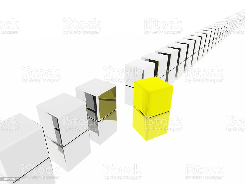 Yellow cube standing out royalty-free stock photo