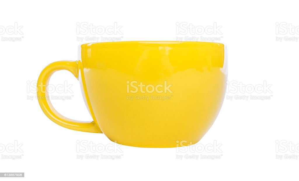 Yellow cup isolated. stock photo