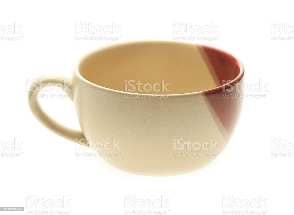 yellow cup on a white background stock photo