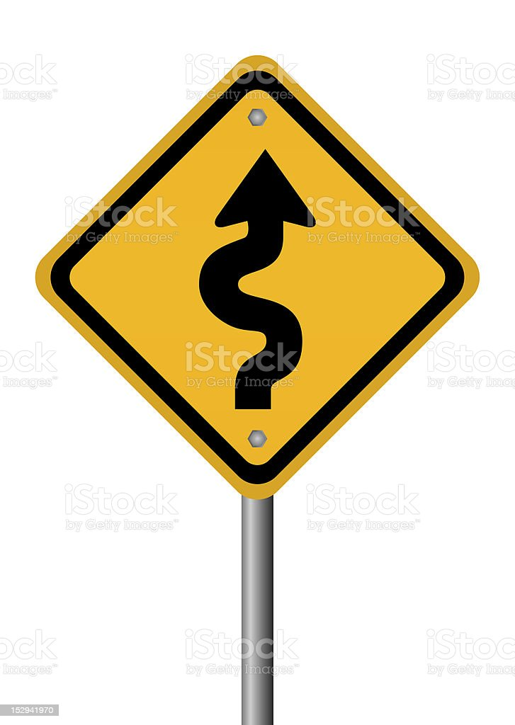 Yellow curvy road ahead sign isolated on white stock photo