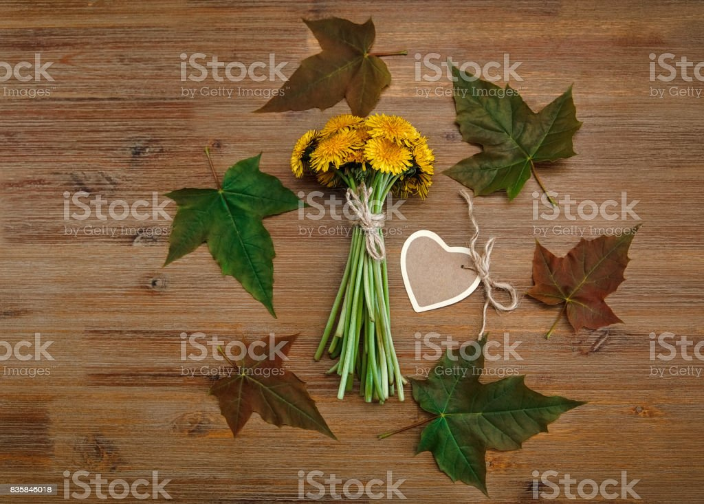 Yellow Dandelions,Heart Wish Card,Green Leaves.Autumn Garden's Background.Wooden Table.Top View. stock photo