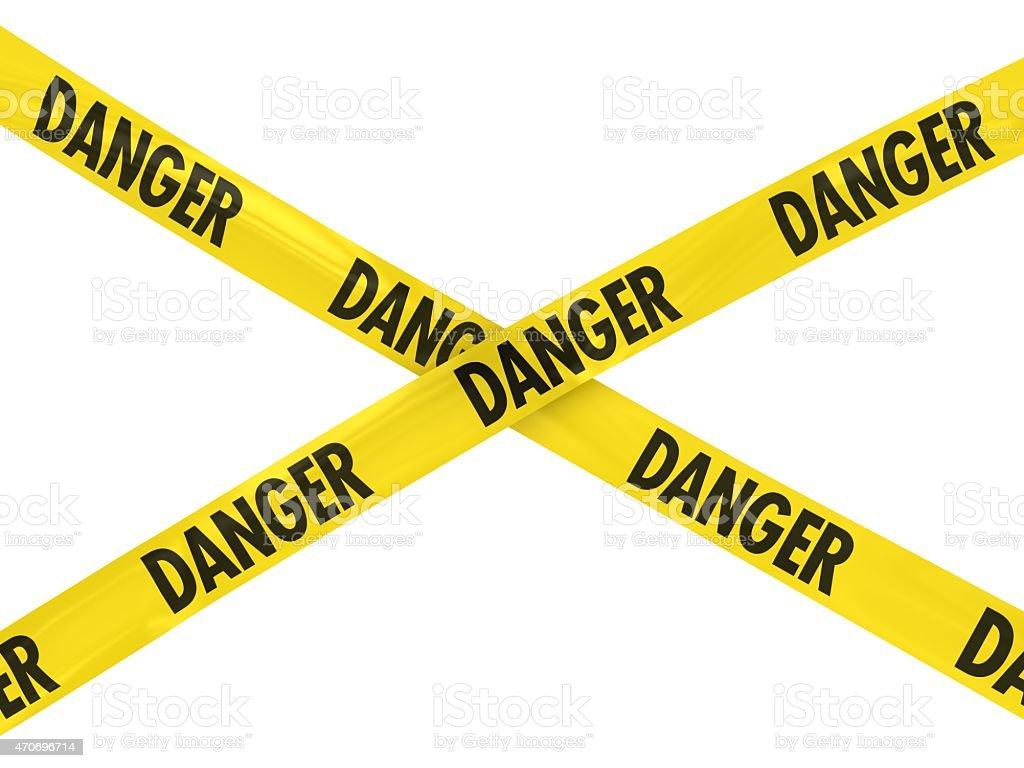 Yellow DANGER Barrier Tape stock photo