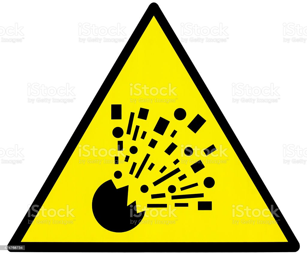 Yellow danger explosion clean triangle signal stock photo