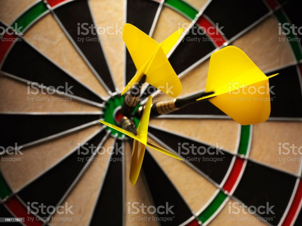 Yellow Darts in a Game royalty-free stock photo