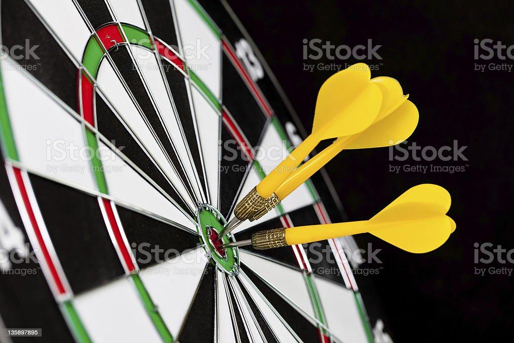 Yellow darts stock photo