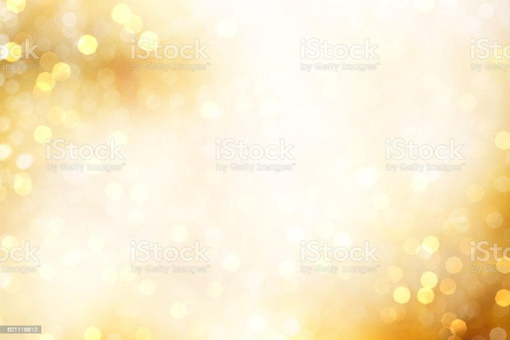 Yellow Defocused Light Background For Christmas stock photo