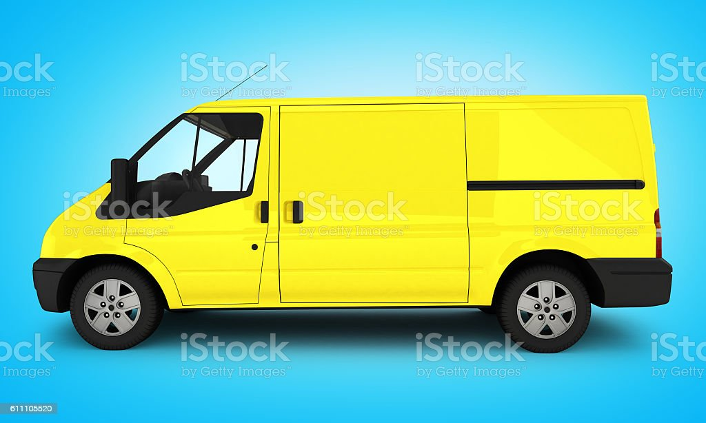 Yellow delivery van on blue gradient background 3D stock photo