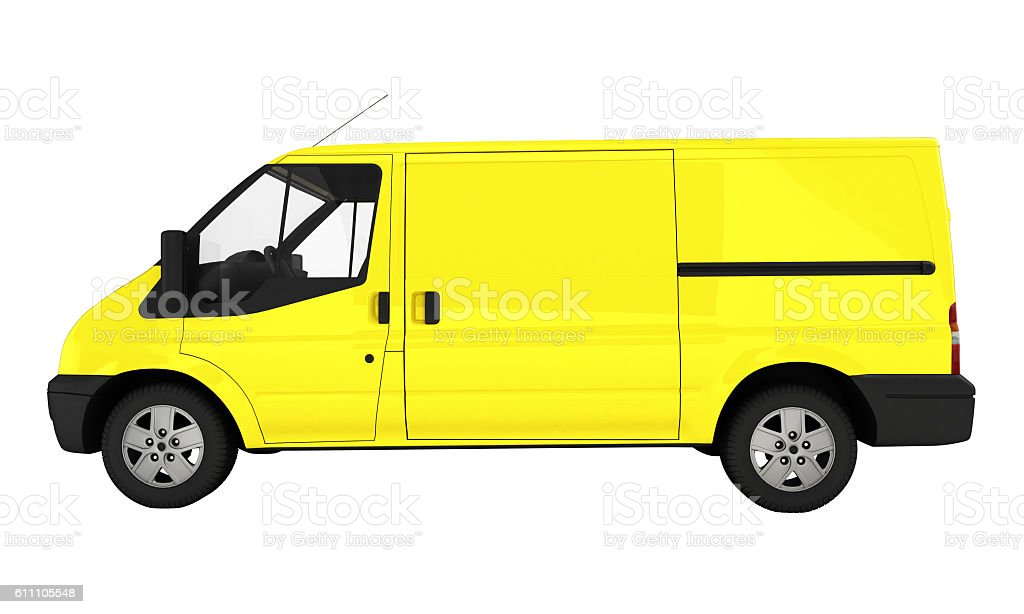 Yellow delivery van without shadow on white background 3D illust stock photo