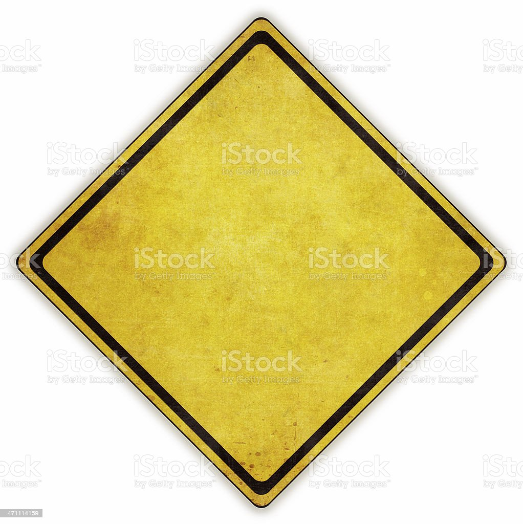 Yellow diamond road sign on white background stock photo
