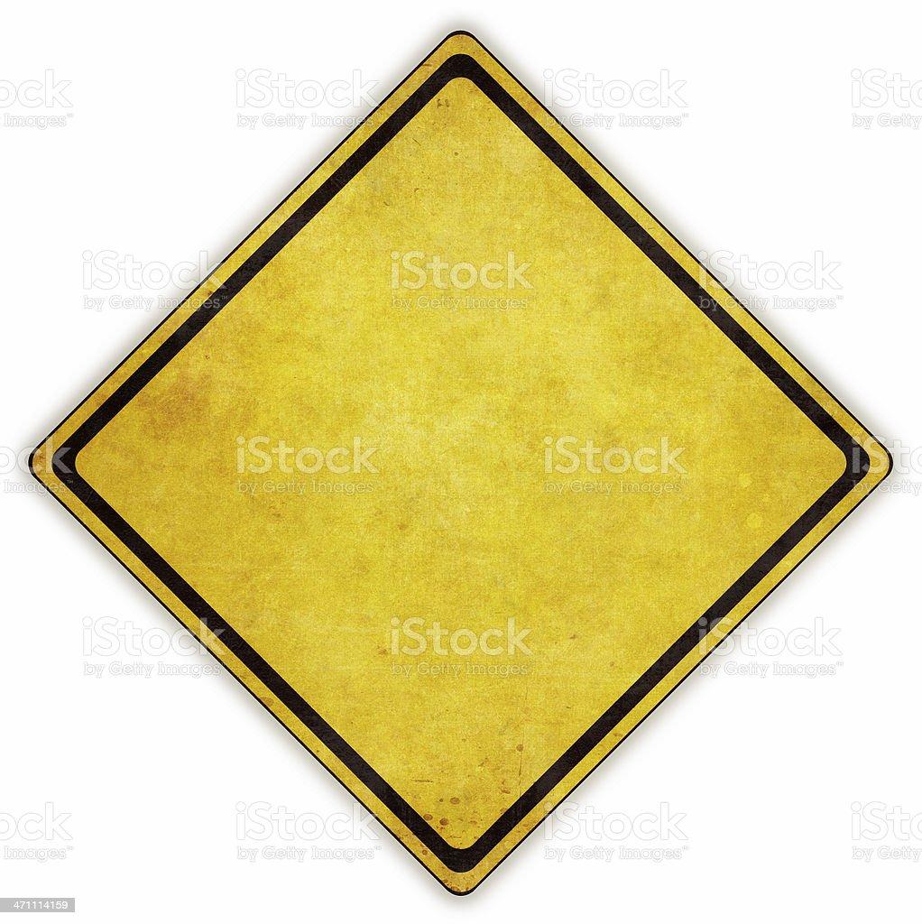 Yellow diamond road sign on white background stock photo