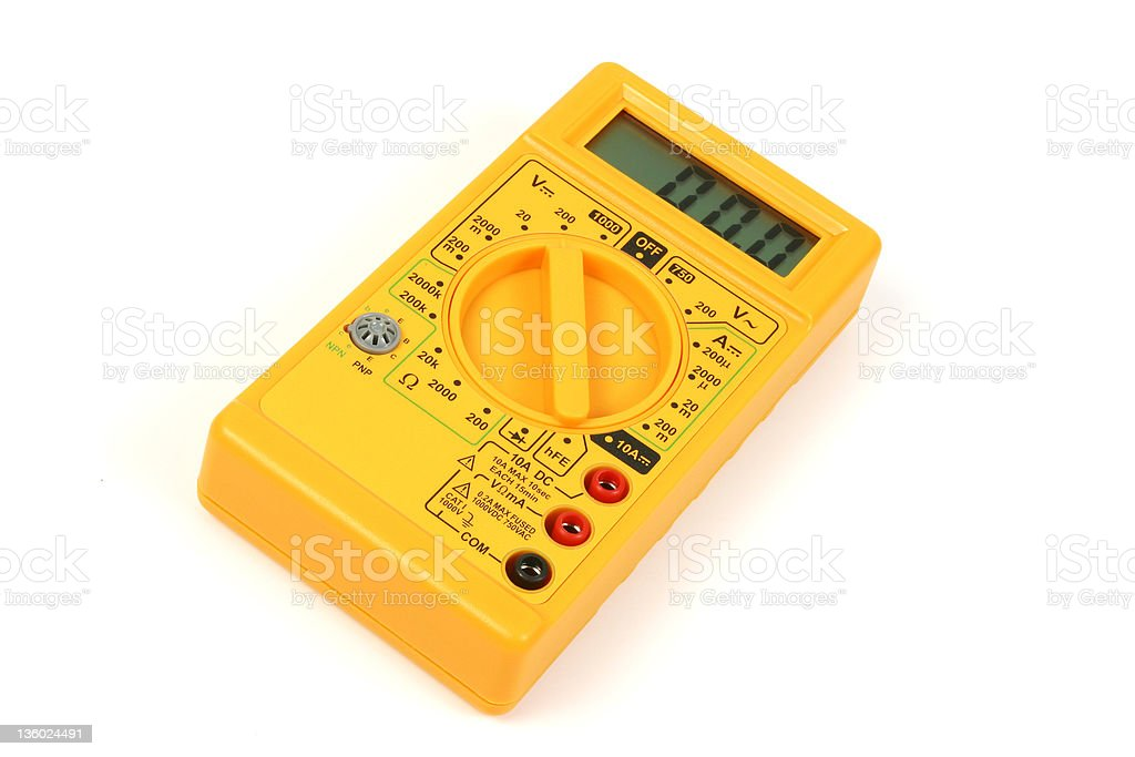 Yellow Digital Voltmeter 2 stock photo