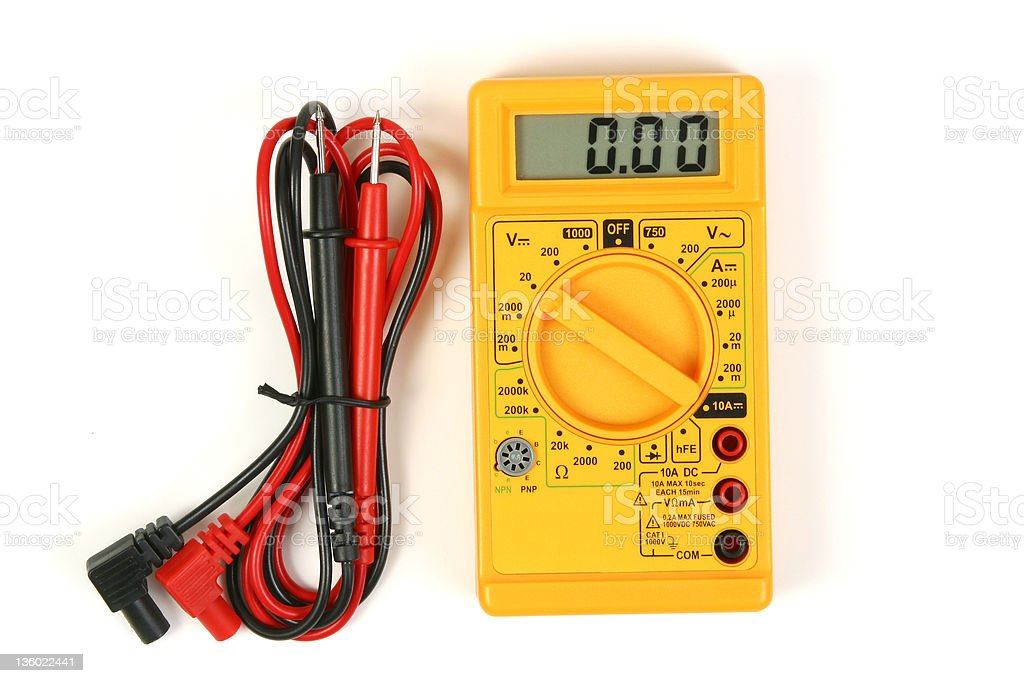 Yellow Digital Voltmeter & Leads, Multimeter stock photo