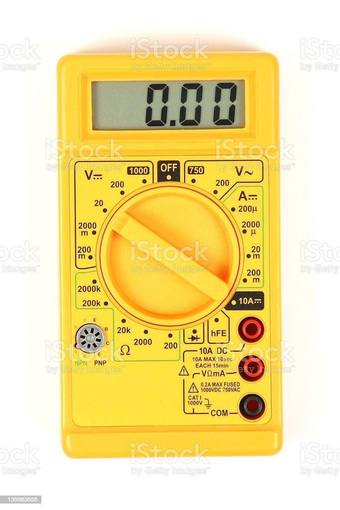 Yellow Digital Voltmeter, Multimeter stock photo