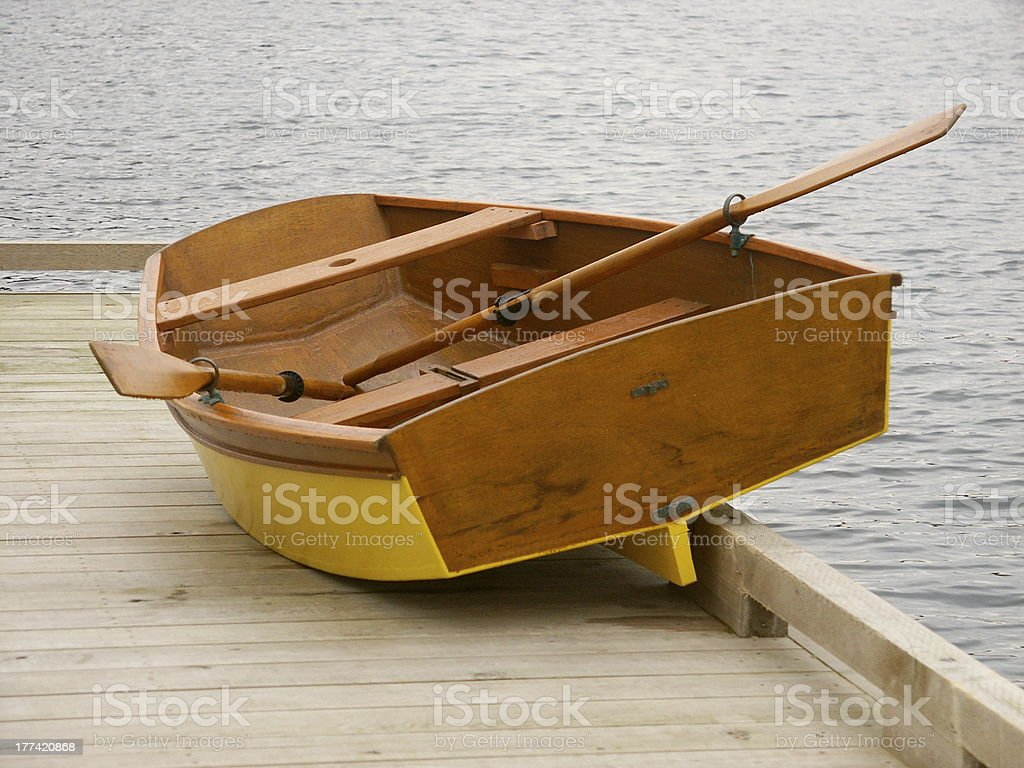 Yellow Dinghy, Waiting royalty-free stock photo