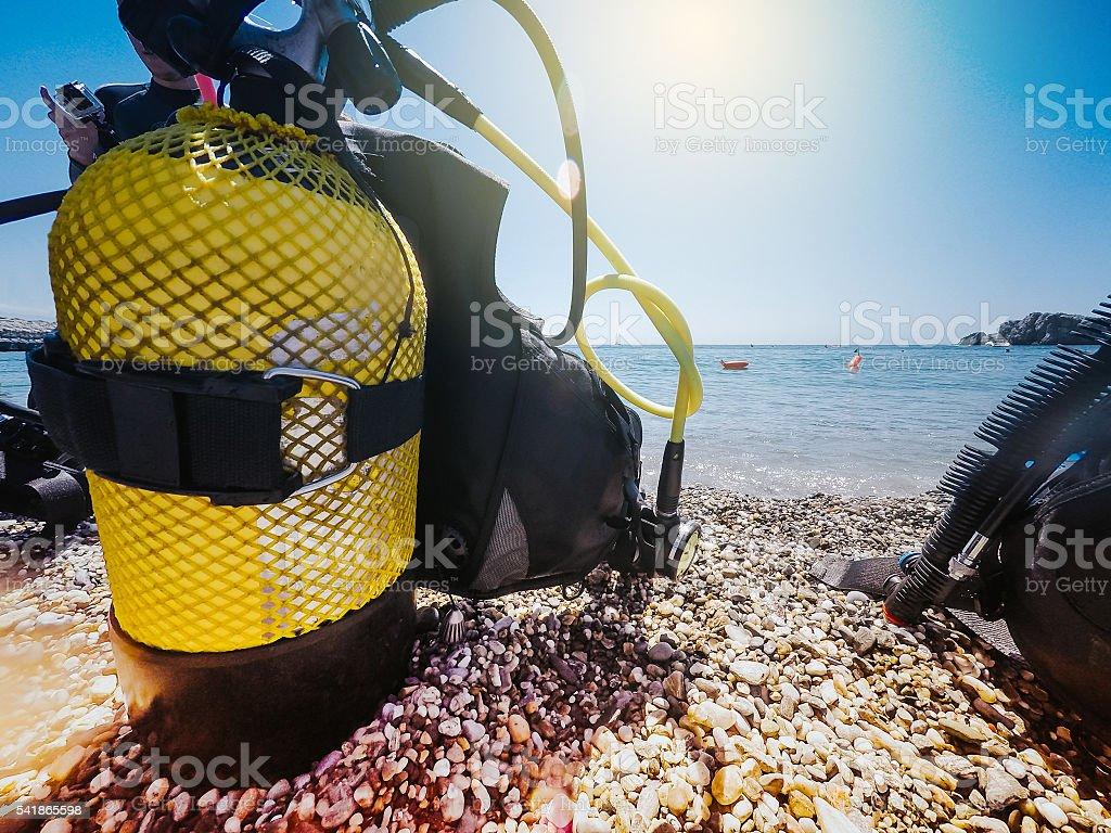 Yellow diving tank . stock photo