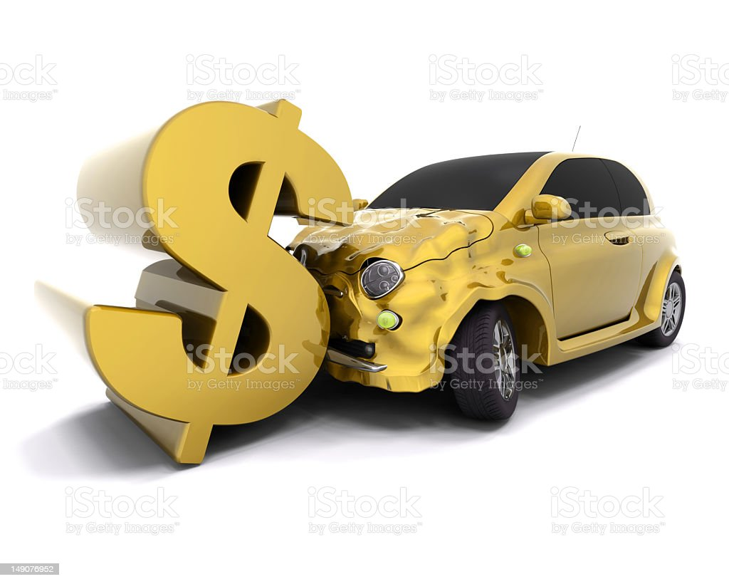Yellow dollar sign leaning on yellow car with front damage stock photo