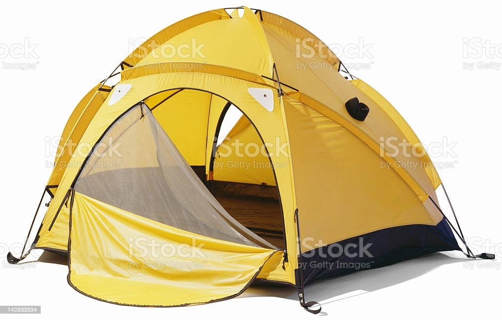 Yellow dome tent with open zip enclosure stock photo