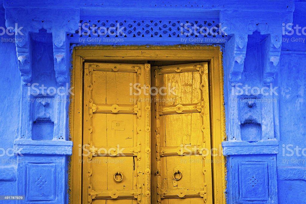 yellow door in India stock photo