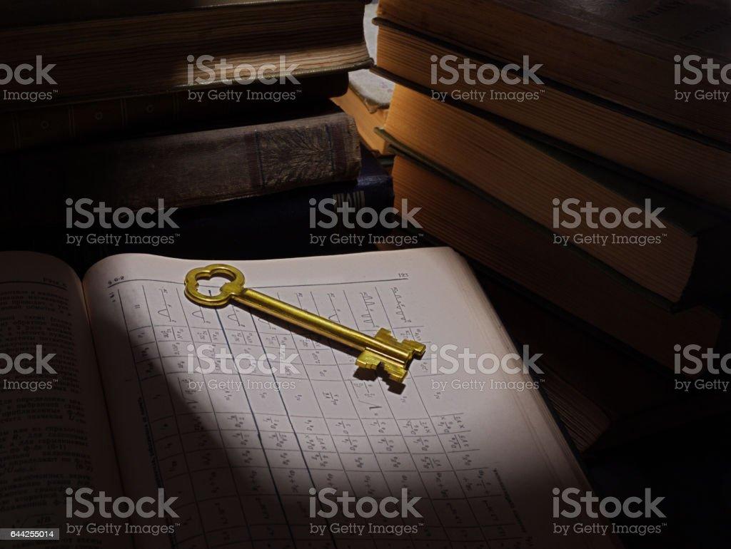 yellow door key on the open book stock photo