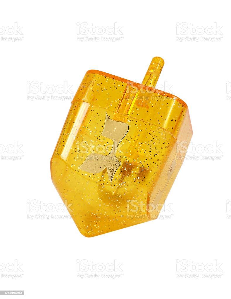 Yellow Dreidel royalty-free stock photo