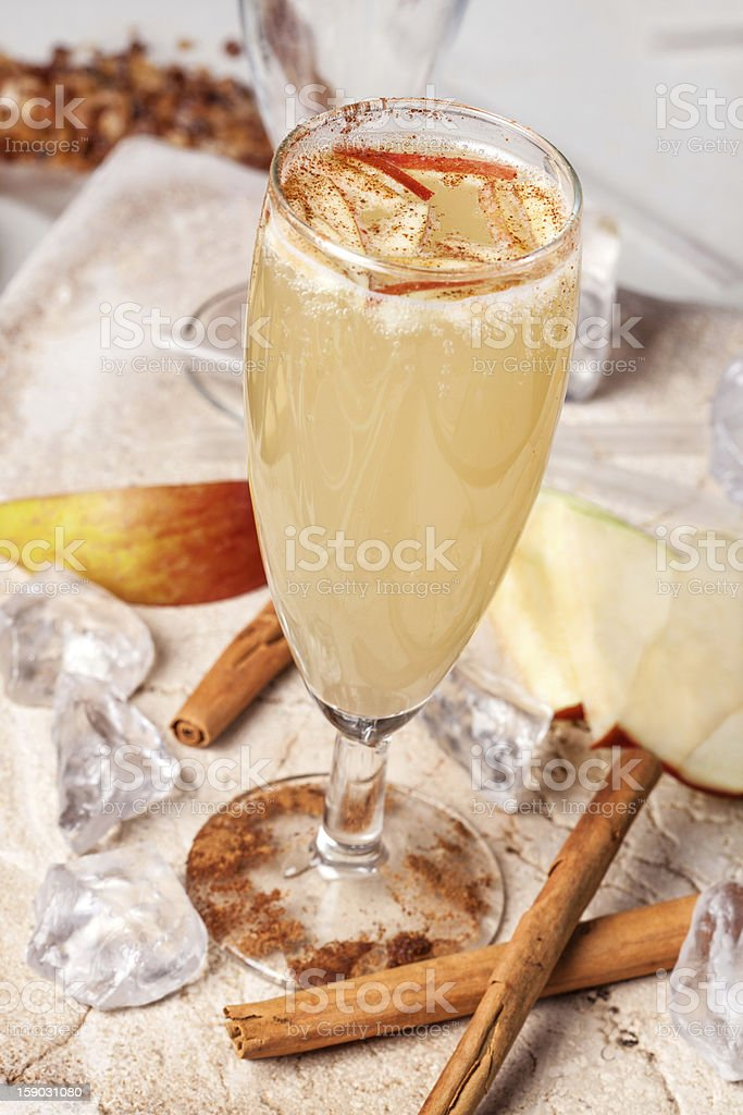 yellow drink, apple and cinnamon royalty-free stock photo