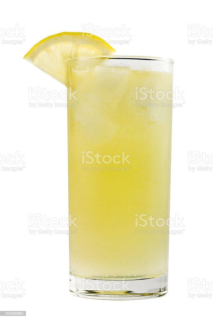 Yellow drink with lemon slice stock photo
