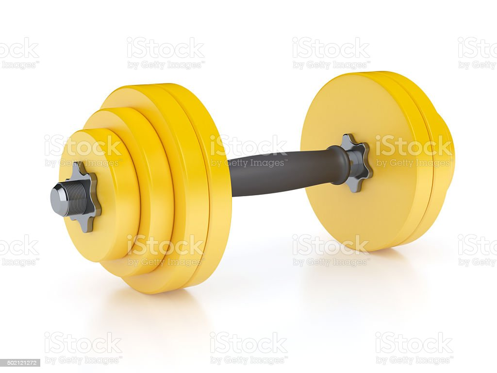 Yellow Dumbbell stock photo