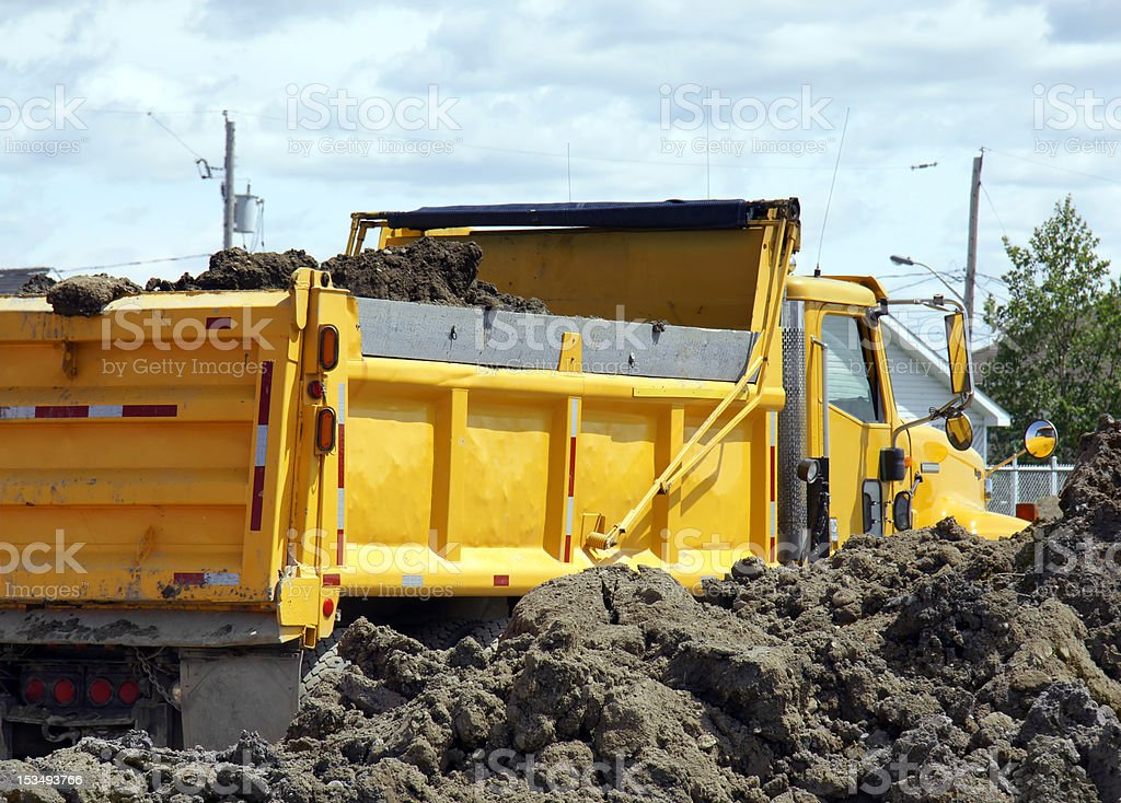 Yellow dump truck royalty-free stock photo