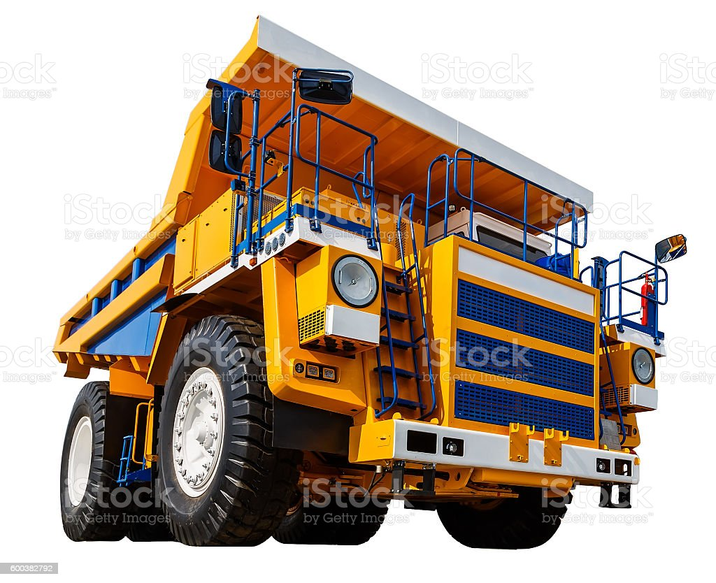 yellow Dumper industrial truck isolated on white background. stock photo