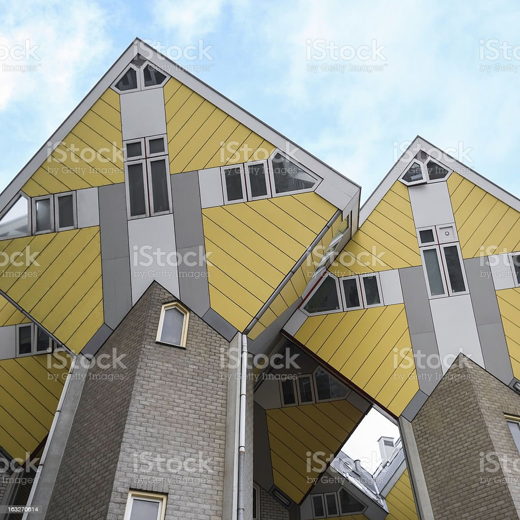 Yellow Dutch cube houses at the old harbor of Rotterdam stock photo