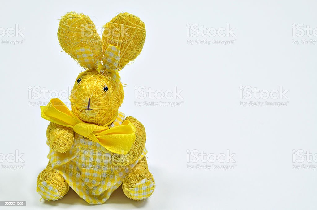 Yellow Easter bunny stock photo