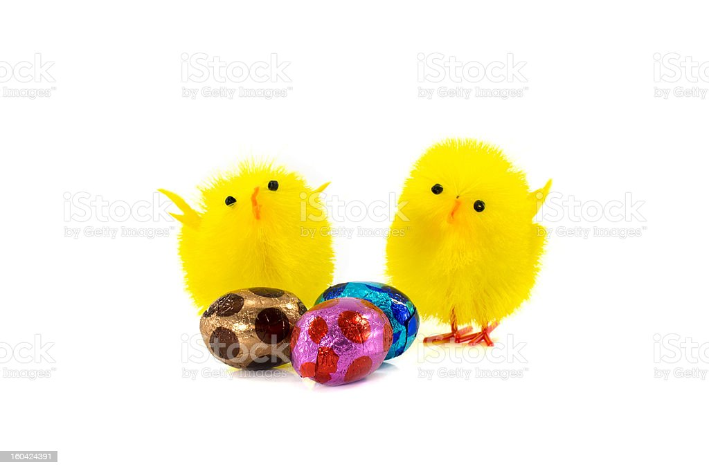 yellow easter duck and eggs royalty-free stock photo