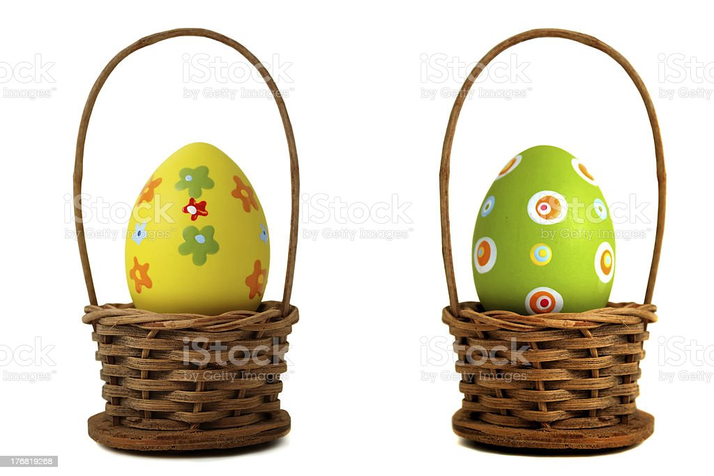 Yellow Easter egg into a basket stock photo