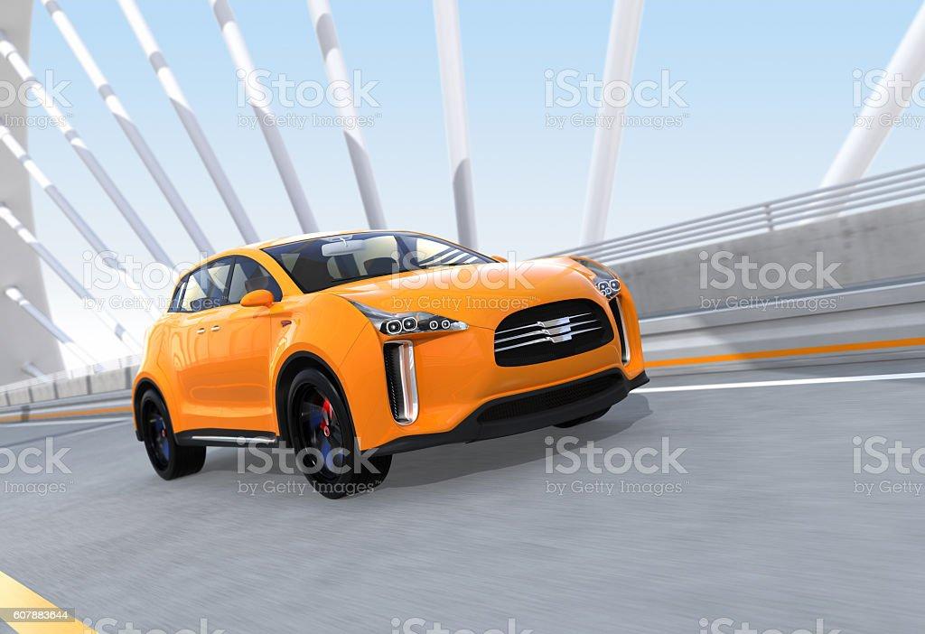 Yellow Electric Suv Driving On Arc Bridge Stock Photo