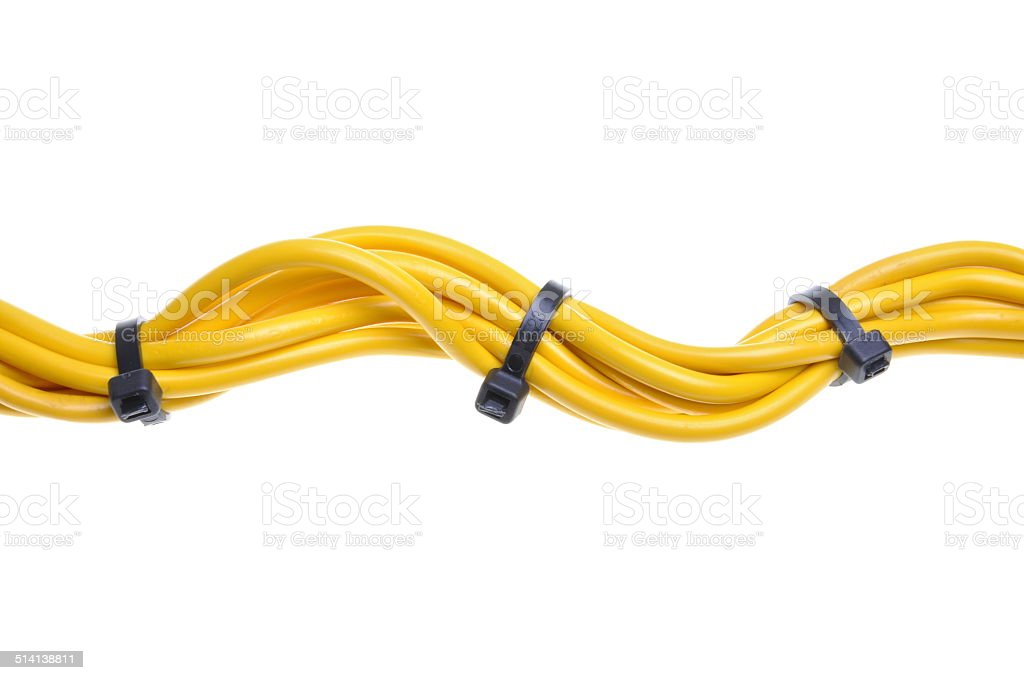 Yellow electrical cables with cable ties stock photo