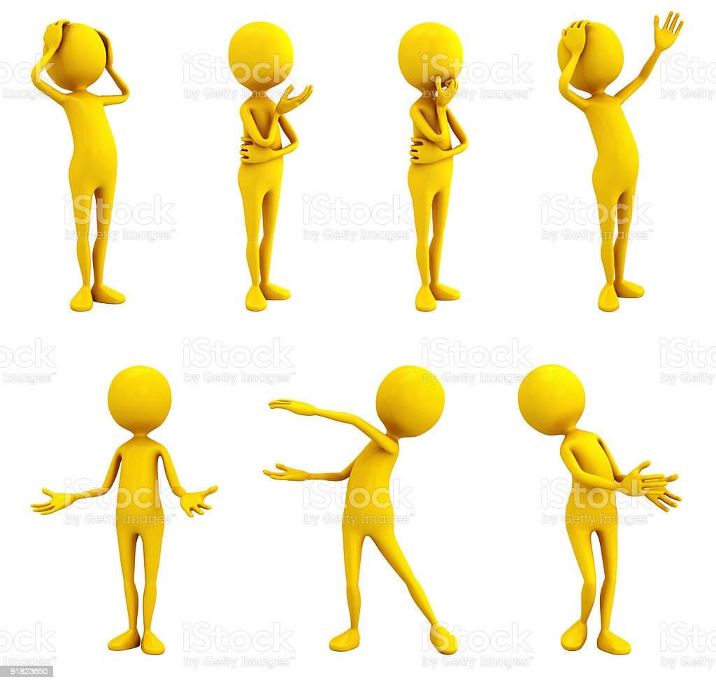Yellow emotion figures on white royalty-free stock photo