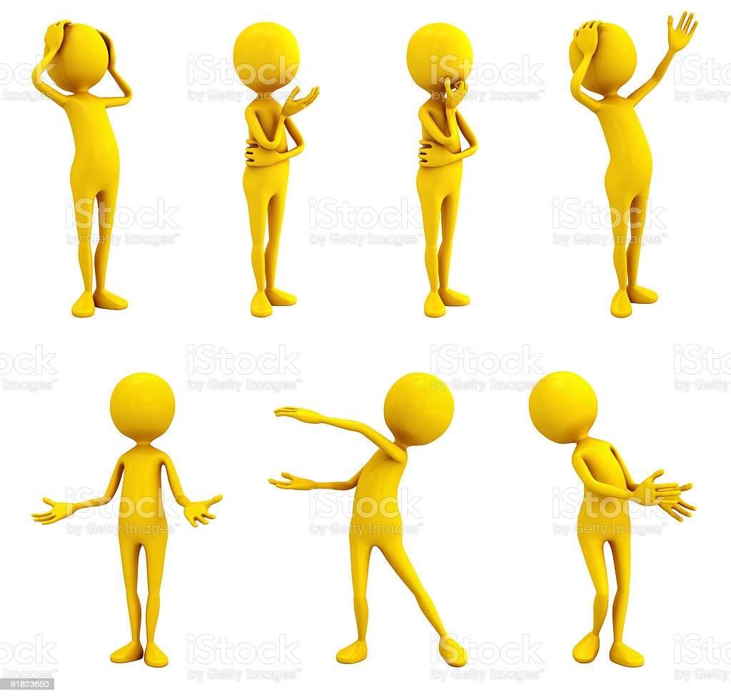 Yellow emotion figures on white stock photo