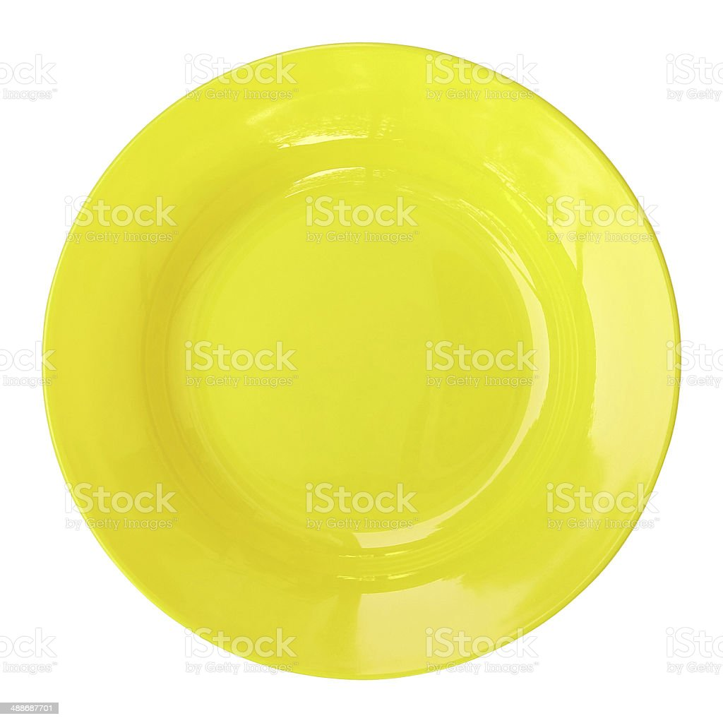 yellow empty plate isolated on white stock photo