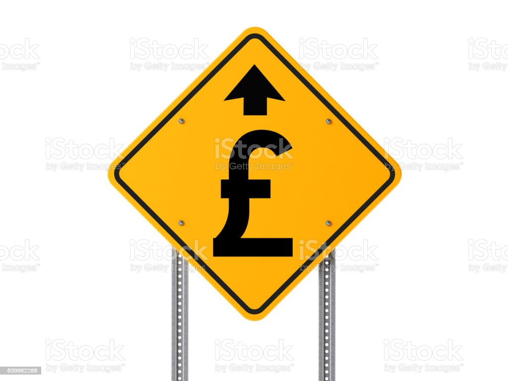 Yellow English Pound Prosperity Ahead Road Sign Isolated on White stock photo
